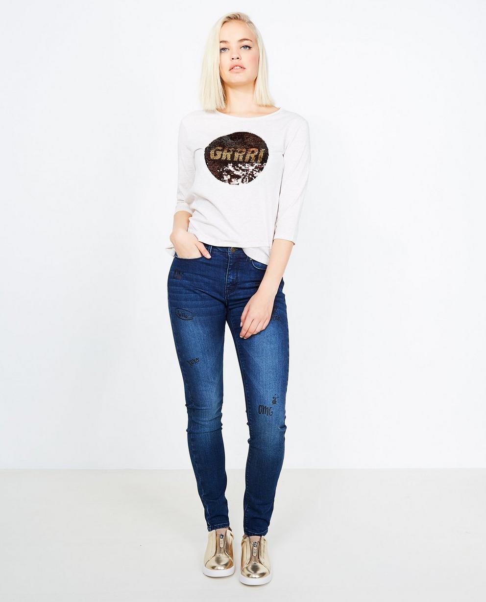 Jeans met graffiti print - super skinny fit - Grogy